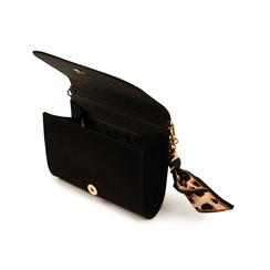 Mini bag nera in microfibra con manico foulard in raso, Primadonna, 155122756MFNEROUNI, 004 preview