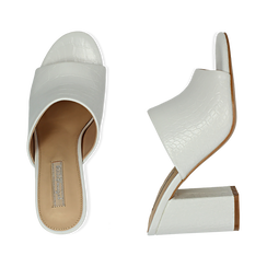 Mules bianche in eco-pelle cocco print, tacco 9 cm , Chaussures, 152783430CCBIAN036, 003 preview