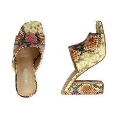 Mules rosa/beige in eco-pelle snake print, tacco 10,50 cm, Chaussures, 152709445PTRSBE036, 003 preview