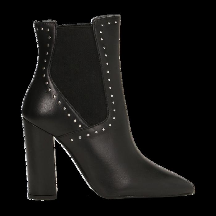 Stivaletti Chelsea neri in vera pelle con mini-borchie, tacco 10 cm, Primadonna, 12D614310VINERO