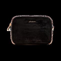 Borsa a tracolla nera in velluto, Primadonna, 125921068VLNEROUNI, 001 preview