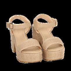 Sandali beige in rafia, tacco-zeppa 10 cm , Zapatos, 154955172RFBEIG036, 002a