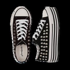 Sneakers nere in canvas con borchie, platform 4 cm, Scarpe, 132619223CANERO037, 003 preview