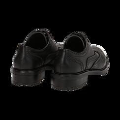 Stringate nere in eco-pelle con lavorazione Duilio, Scarpe, 140618203EPNERO036, 004 preview