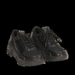Dad shoes nere in eco-pelle, zeppa 4 cm, Scarpe, 142892502EPNERO035, 002a