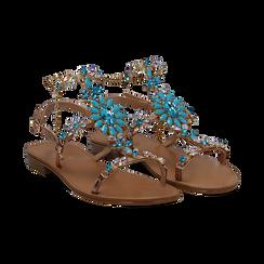 Sandali gioiello azzurro flat con tomaia rosa in laminato, Primadonna, 134921933LMROSA036, 002 preview