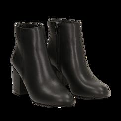 Ankle boots neri in eco-pelle, tacco 7, 50 cm , Stivaletti, 142762715EPNERO035, 002a