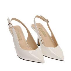 Slingback blanco de charol, tacón 8 cm,  Zapatos, 174823795VEBIAN036, 002a