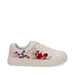 Sneakers bianche in eco-pelle con ricami fiorati, Scarpe, 132618501EPBIAN036, 001a