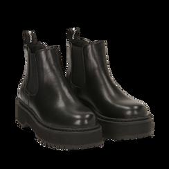 Chelsea boots neri, platform 5 cm , Primadonna, 160619239EPNERO035, 002a
