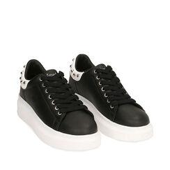 Sneakers nere, zeppa 5 cm , Primadonna, 182621192EPNERO036, 002a