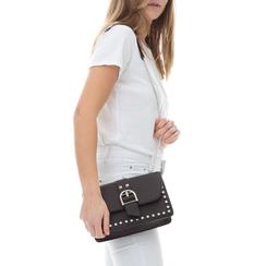 Borsa piccola nera in eco-pelle con borchie, Borse, 132300503EPNEROUNI, 002a