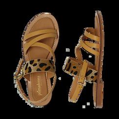Sandali beige in eco-pelle con dettaglio leopard, Primadonna, 135201203EPBEIG036, 003 preview