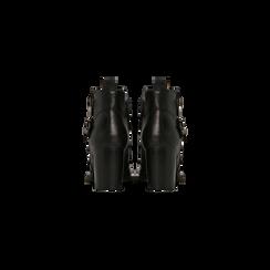 Tronchetti neri con fibbia rettangolare, tacco 4 cm, Scarpe, 123018601EPNERO, 003 preview