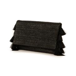 Pochette nera in raffia, Borse, 155122434RFNEROUNI, 004 preview