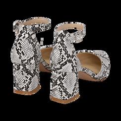 Décolleté en eco-piel con estampado de serpiente en blanco/negro con tira, tacón 6,50 cm, Zapatos, 152182391PTBINE036, 004 preview