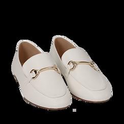 Mocassins blanc simili cuir, Chaussures, 154939181EPBIAN035, 002a