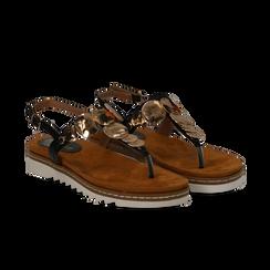 Sandali infradito neri in eco-pelle con suola bianca, Primadonna, 134922304EPNERO035, 002 preview