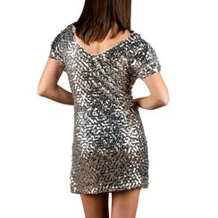 Minidress argento con paillettes, 15B411405TSARGEL, 002a
