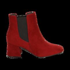 Ankle boots bordeaux in microfibra, tacco trapezio 6 cm , Stivaletti, 142707127MFBORD035, 001 preview