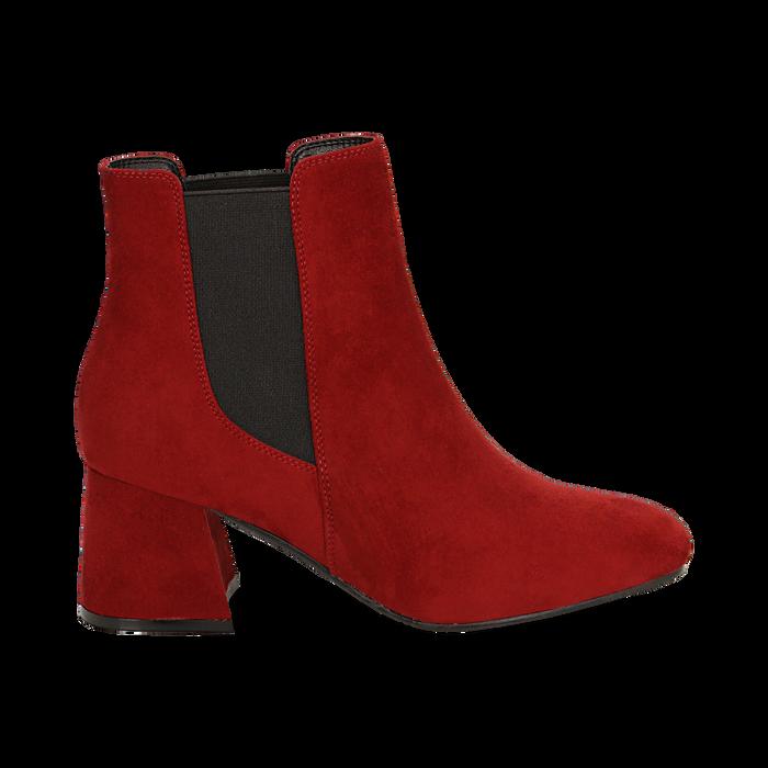 Ankle boots bordeaux in microfibra, tacco trapezio 6 cm , Stivaletti, 142707127MFBORD035