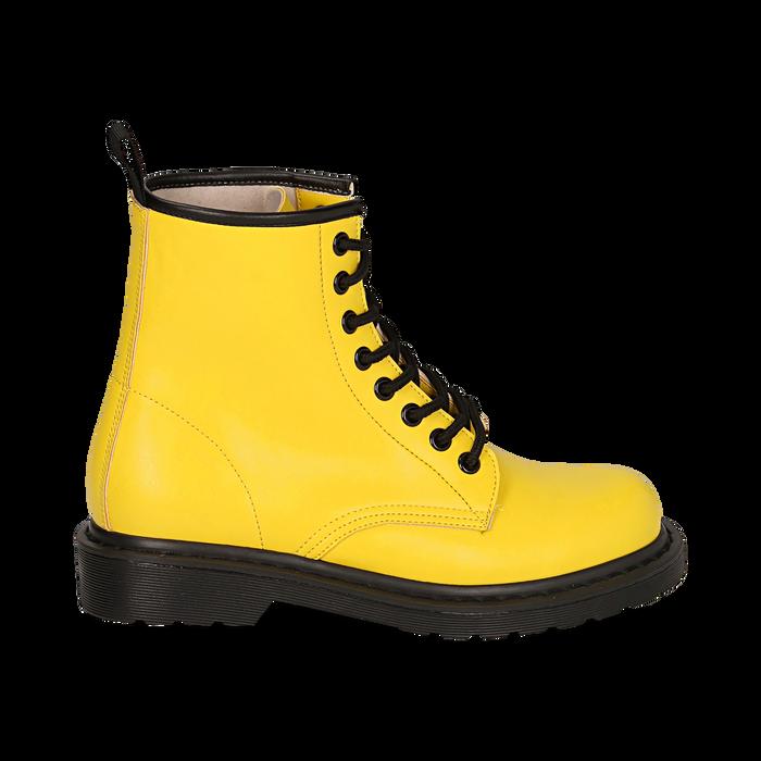 Anfibi gialli in eco-pelle, Stivaletti, 142801501EPGIAL035