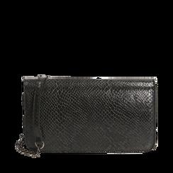 Pochette nera in eco-pelle snake print, Primadonna, 145122779PTNEROUNI, 001a