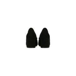 Mocassini décolleté scamosciati neri con frange, tacco 5,5 cm, Scarpe, 122186581MFNERO, 003 preview