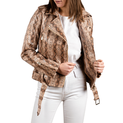 Biker jacket beige stampa cocco, Abbigliamento, 156501164CCBEIG3XL, 001a