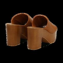 Mules cuoio in eco-pelle, tacco 9 cm , Saldi Estivi, 134956581EPCUOI035, 004 preview