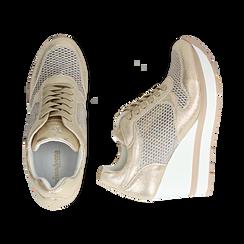 Sneakers en laminado con cuña color dorado , Zapatos, 152882661LMOROG039, 003 preview