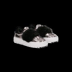 Sneakers canna di fucile Slip-on con dettagli faux-fur e borchie, Scarpe, 126103025SPCANN037, 002