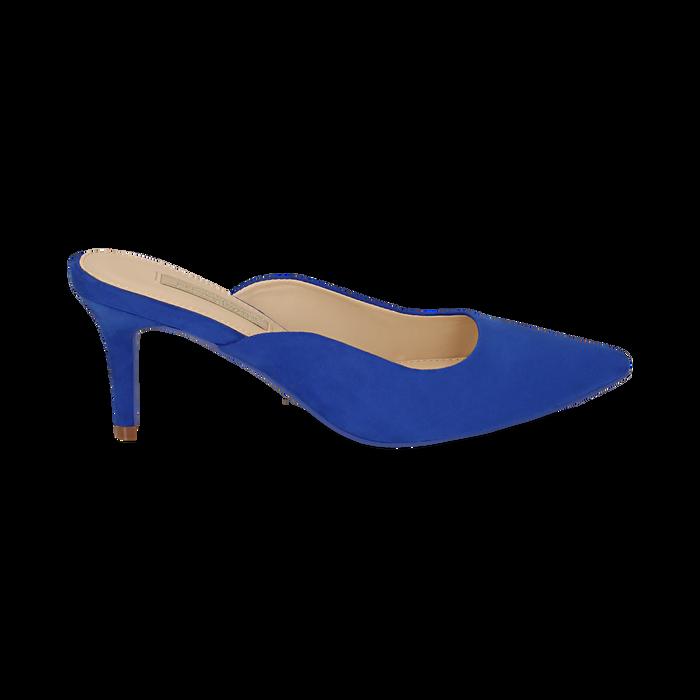 Mules blu cobalto in microfibra, tacco 7,50 cm , Primadonna, 152133675MFBLCO035