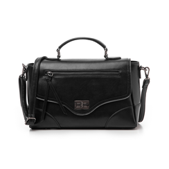 Borsa media nera in eco-pelle, Borse, 14D903145EPNEROUNI, 001 preview