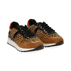 Sneakers leopard marroni in eco-cavallino, Scarpe, 142008377CVLEMA035, 002 preview
