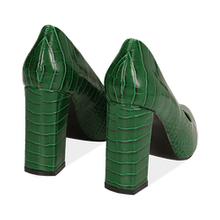 Décolleté verdi eco-pelle effetto coccodrillo, tacco 9,5 cm , Scarpe, 142186671CCVERD036, 004 preview