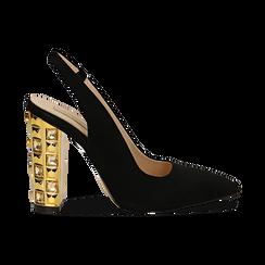 Décolleté Slingback nere in microfibra con cinturino alla caviglia, tacco gioiello 12 cm, Scarpe, 132118672MFNERO035, 001 preview