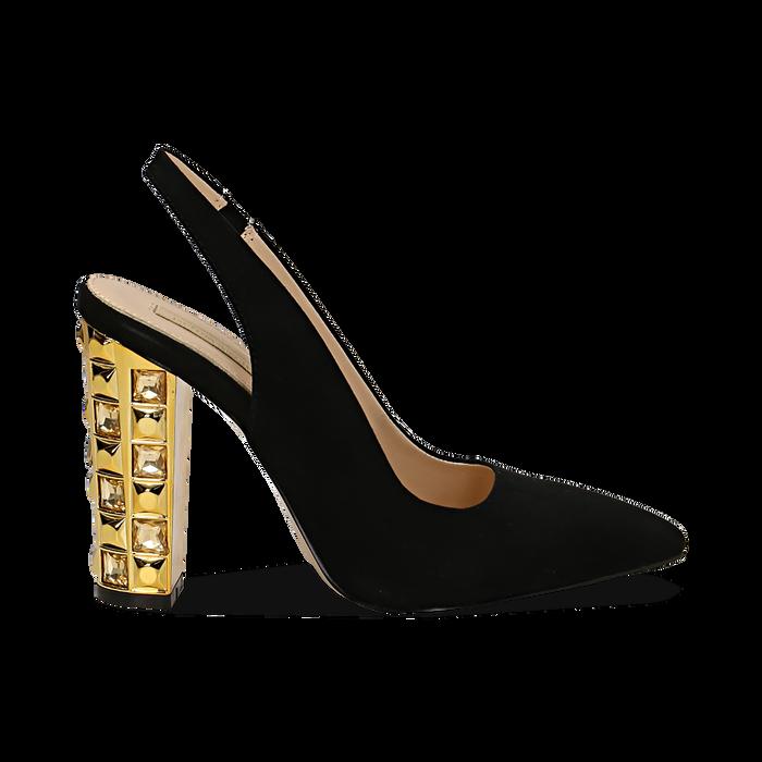 Décolleté Slingback nere in microfibra con cinturino alla caviglia, tacco gioiello 12 cm, Scarpe, 132118672MFNERO035