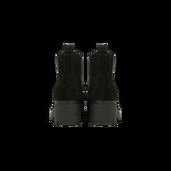 Chelsea Boots neri in vero camoscio, tacco medio 5,5 cm, Scarpe, 127723509CMNERO, 003 preview