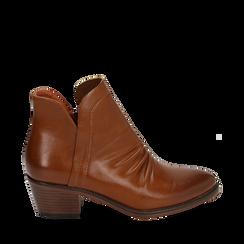 Ankle boots cuoio, tacco 4,50 cm, Primadonna, 150693110EPCUOI036, 001a