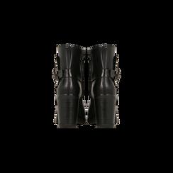 Tronchetti neri con dettagli metal, tacco 6 cm, Scarpe, 129315813EPNERO, 003 preview