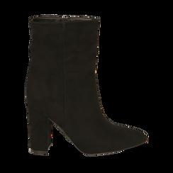 Ankle bottes en microfibre noir, talon 9,50 cm, Primadonna, 163026508MFNERO035, 001a