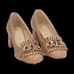 Mocasines en ecopiel con flecos y maxi-cadena color beige, tacón 6 cm, Zapatos, 152186582EPNUDE036, 002 preview