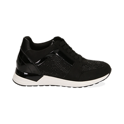 Sneakers nere in tessuto tecnico, zeppa 4 cm , OUTLET, 162826824TSNERO036, 001
