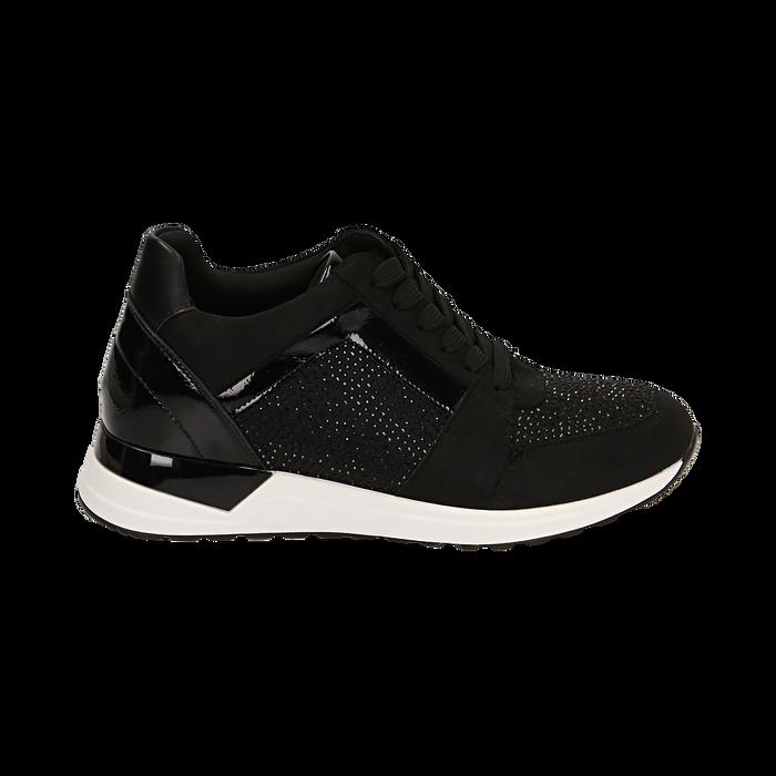 Sneakers nere in tessuto tecnico, zeppa 4 cm , Primadonna, 162826824TSNERO036