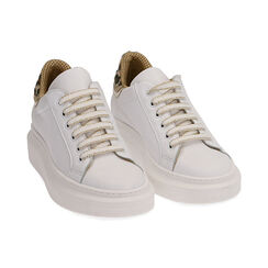 Sneakers blanco/marrón de piel, Primadonna, 17L600103PEMARR035, 002 preview