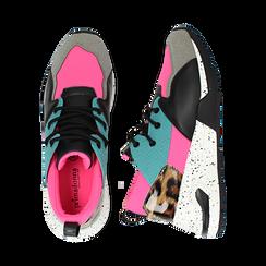 Sneakers fucsia in tessuto tecnico con dettagli leopard, zeppa 6,50 cm, Scarpe, 14D814201TSFUCS035, 003 preview