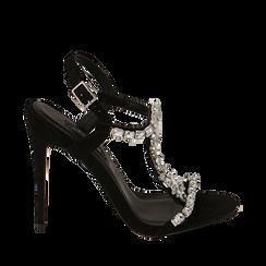 Sandali gioiello neri in microfibra, tacco 11,50 cm , Scarpe, 152131530MFNERO035, 001a