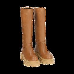 Stivali chunky cuoio in pelle di vitello, tacco 4 cm, Primadonna, 16A500050VICUOI038, 002 preview