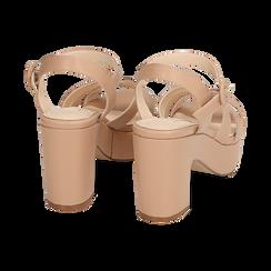 Sandali nude, tacco zeppa 8,50 cm, Scarpe, 158480211EPNUDE, 004 preview